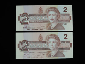 1986 $2 Bank of Canada Banknote CBE 6889679-80 Consecutive Thiessen Crow AU-UNC
