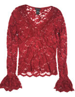 MODA INTERNATIONAL Vintage Victorias Secret 90s Lace Top Sheer Bell Sleeve L0