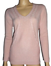 LUXE OH `DOR® 100% Kaschmir Cashmere V-Neck Luxus Pullover rosa 38/40 S/M