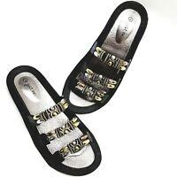 Just Be 7 Sandals Black Beaded Embellished Gold Slides Slip Ons Boho Water Artsy