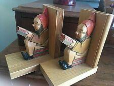 Vintage Hand Carved Gnome Wood Bookends Adorable Folk Art