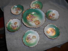 Vintage - Three Crown China - Germany - Serving Dish And 6 Berry Bowls