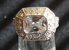 Edwardian Replica Emerald Cut CZ Ring Encrusted with CZs!  925 Sterling Silver