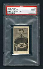 PSA 2 AUREL JOLIAT 1924 Maple Crispette Hockey Card #14