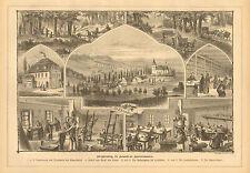 Ehrenberg, German, Hat Factory, Weaving Industry Vintage 1880 Antique Art Print,
