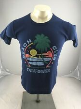 Vintage California Beach club 70s 80s sunset PUFFY PAINT tshirt blue USA MADE