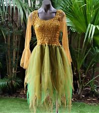 CHILD'S SIZE 12-14 Fairy Dress Dance Ballet Costume - Mustard with Lime