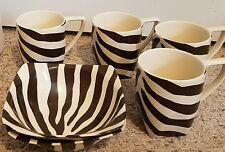 222 Fifth ZEBRA BROWN Coupe Cereal Bowls 2 & Mugs 4