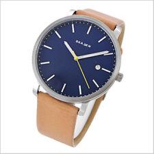Brand New! Skagen Mens Hagen Light Brown Leather Strap Blue Dial Watch SKW6279