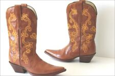 RUDEL Boots Santiags Tout Cuir Caramel Broderie Ocre T 5 US / 36 TTBE