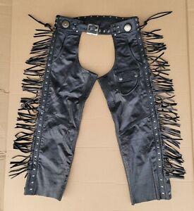 Harley Davidson Womens XL Leather Border Springer Fringe Conchos LINED Chaps