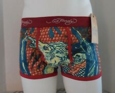 Ed Hardy Men's Dead Or Alive Horse Premium Cotton Stretch Trunks Size L New