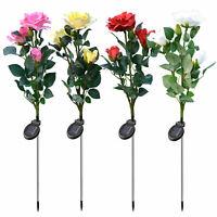 Solar Garden Rose Flower Lights Waterproof 3 Head LED Light Sensor Decorative