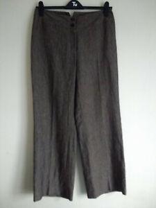 NEW Hobbs Wide Leg 100% Linen Chocolate Pinstripe Trousers UK 12