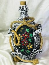Pretty San Marino Style Ceramic Pottery Flask Bottle Decanter Jug & Stopper