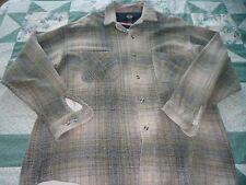 Men's size Large Dockers Gray & Blue Plaid Button Front Fleece Jacket Shirt