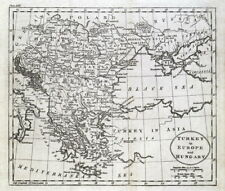 TURKEY IN EUROPE, TURKISH EMPIRE,GREECE,HUNGARY,CROATIA,Guthrie Antique Map 1793