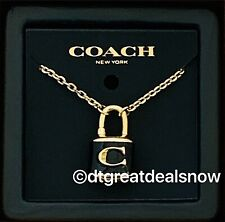 NWT COACH Lock Pendant Necklace Black / Gold F76464 With Gift Box