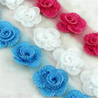 Bridal Fabric Flower Lace Edge Trims Chiffon Wedding Dress DIY Applique Sew on