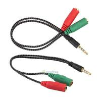 3.5mm Stereo Audio Male to 2 Female Headphone/Mic Y Splitter Cable SN9F