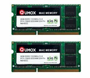 16Go QUMOX (2x 8Go) DDR3 1333MHz PC3-10600 SO-DIMM Mémoire for Apple Mac