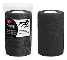 """3M Vetwrap Bandage Self-Adherent Elastic Bandaging Tape Adds Support 4"""" Black"""