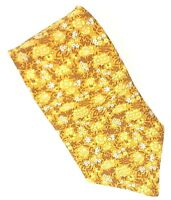 """Brooks Brothers Makers Neck Tie Pure Silk USA Necktie Gold Yellow Flowers 3 3/4"""""""