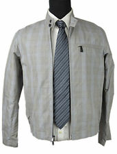 7670 DKNY NWT MENS SLATE GREY PLAID PRINT COTTON ZIP UP JACKET SIZE: SMALL