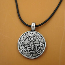 Norse Viking Runic Rune Wicca Amulet Pewter Pendant Leather Pagan Necklace