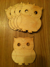 x5 large Wooden Owl Shape. Craft, Decoration, Unpainted, Tag, Plaque
