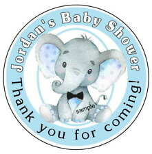 BLUE ELEPHANT BABY SHOWER FAVORS STICKERS LABELS for lollipops, goody bags