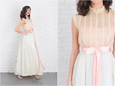 Vintage 60s Striped Lace Cocktail Dress Maxi Sheer Sweetheart Pink A Line Bow XS