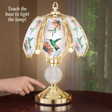 Unique Glass Hummingbird Touch Table Lamp with Gold-Tone Base
