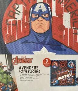 ✅Marvel Avengers Captain America Active Flooring EVA 9 Flooring Reversible Tiles