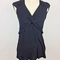 BCBG Maxazria Womens Medium Stretchy Black Knit Top Rayon Blend Cap Sleeve