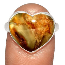 Heart - Petrified Wood - Navajo Country 925 Silver Ring s.8.5 BR28758