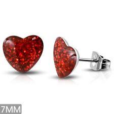 Love Heart Stud Earrings Pair 7mm Stainless Steel Red Druzy Crystal