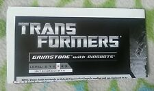 TRANSFORMERS PCC GRIMSTONE DINOBOTS INSTRUCTION BOOKLET ONLY