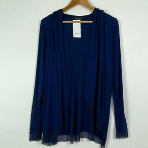 Karen Kane Medium Blue Cardigan Sweater Womens Hood Stretch Knit Open Front New