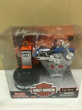 Blue Harley Davidson Radio Controlled Motorcycle Fat Boy