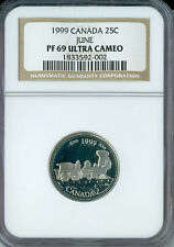 1999 CANADA SILVER JUNE 25 CENTS NGC PR69 ULTRA HEAVY CAMEO SPOTLESS .