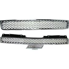 Grille For 2007 2014 Chevrolet Tahoe Set Of 2 Upper And Lower Chrome Plastic Fits 2007 Chevrolet Suburban 1500
