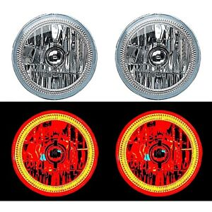 "7"" Red COB LED Halo Angel Eye H4 Headlamp Headlight Halogen 60w Light Bulb Pair"