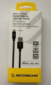 SCOSCHE Braided Cable for Apple iPhone & iPad - Black - 4FT - Brand New