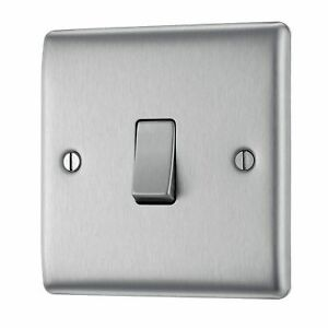 BG Nexus Brushed Stainless Steel Metal NBS12 - 1 Gang 2 Way Single Light Switch