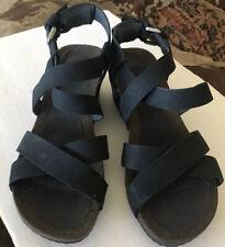 Teva Black Leather Wedge Platform Heel Sandals Casual Women's Shoe 8 EUR 39