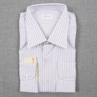 NWT $650 BRIONI White-Lavender Fine Stripe Cotton Dress Shirt 17.5 x 36