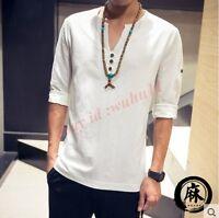 Mens V-neck Flax Tunic Fashion T-shirt Long Sleeve Boy Comfort Summer Size 5XL