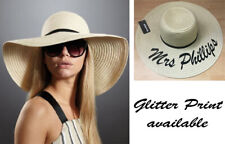 PERSONALISED STRAW HAT GLITTER NAME SUMMER BEACH WIDE BRIM HAT CRUSHABLE BRIDE
