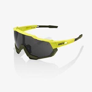 100% Percent Cycling Sunglasses Speedtrap - Soft Tact Banana - Black Mirror Lens